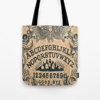 ouija Tote Bags featuring Ouija Board by ezmaya