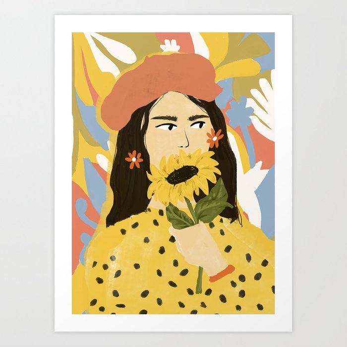 Sunflowers In Your Face Art Print