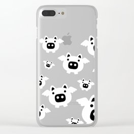 Pigs Will Fly - white on black Clear iPhone Case