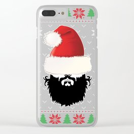 Bearded Man Ugly Christmas Sweater Clear iPhone Case