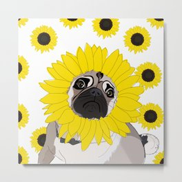 Sunflower Pug Dog Metal Print