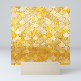 Sunny Gold Colorful Watercolor Trendy Glitter Mermaid Scales Mini Art Print