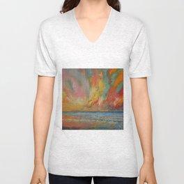 Hidden Heart Lava Sky Unisex V-Neck