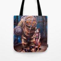 bioshock Tote Bags featuring Bioshock by Emily Blythe Jones