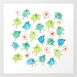 Scribble Birds Art Print