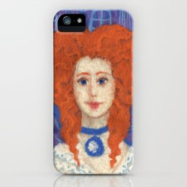 Red Hair, ginger lady, rococo haircut, felt painting, fiber art iPhone Case