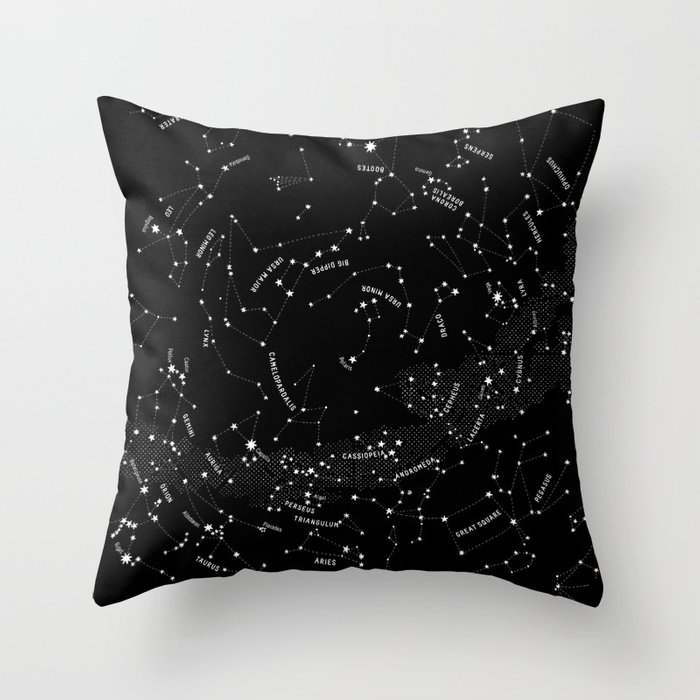 Constellation Map - Black Throw Pillow