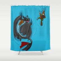 hiccup Shower Curtains featuring Hanging Out-HTTYD2 by Chyanime