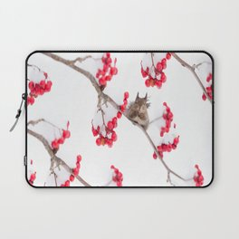 Cute Squirrel With Red Rowan Berries On A White Background #decor #society6 #buyart Laptop Sleeve