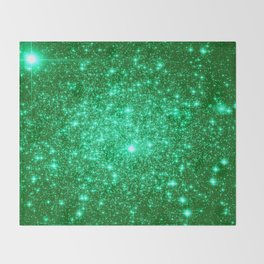 Emerald Green Glitter Stars Throw Blanket