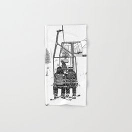 Snow Lift // Ski Chair Lift Colorado Mountains Black and White Snowboarding Vibes Photography Hand & Bath Towel