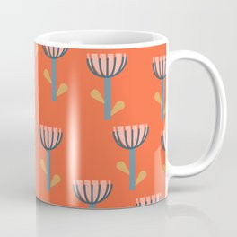 Cute Floral Pattern in Orange Coffee Mug