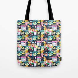 Seamless pattern of various fruit drinks and fruit on a dark background Tote Bag