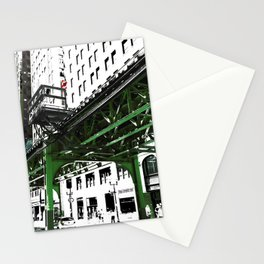 Chicago photography - Chicago EL art print in green black and white Stationery Cards