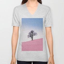 Pink Field Landscape Unisex V-Neck