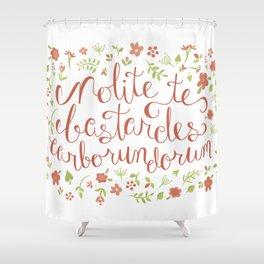 Don't Let the Bastards Grind You Down - Orange Floral Shower Curtain