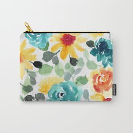 Pretty Summer Floral Watercolor, Yellow, Red, Teal Flowers Carry-All Pouch
