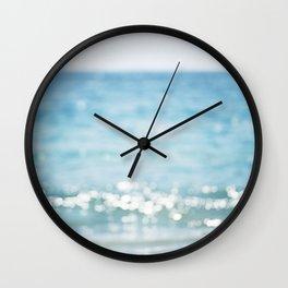 Beach Ocean Photography Art, Blue Coastal Photo, Aqua Seascape Photograph, Waves Art Wall Clock