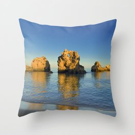 Rock formations near Albufeira, Portugal Throw Pillow