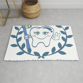Against Enamel Cruelty A Cute White Teeth Great Gift For Dentists Doctors Dental Technician T-shirt Rug