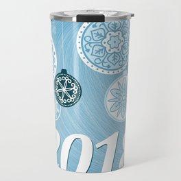 blue 2018 with christmas balls Travel Mug