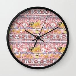 Xmas Pugs Yoga Watercolor Wall Clock