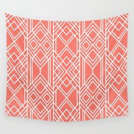 Peach Echo Geo Wall Tapestry