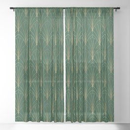 Art Deco Waterfalls // Emerald Green Sheer Curtain