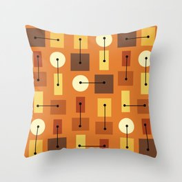 Atomic Age Simple Shapes Orange Brown Yellow Throw Pillow