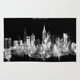 New York City Inverted Watercolor Skyline Rug