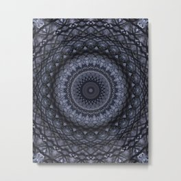 Dark gray mandala Metal Print