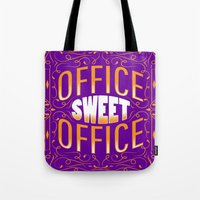 the office Tote Bags featuring Office Sweet Office by Roberlan Borges