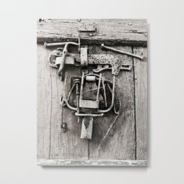 Old Wooden Door With Working Tools Sculpture B&W Metal Print