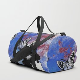 Long Gone Whisper III: Blue (butterfly girl spray paint graffiti painting) Duffle Bag