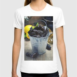 Fresh  mussels ready for cooking on wooden background T-shirt