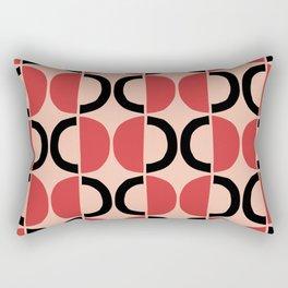 Mid Century Modern Half Circle Pattern 532 Pink Red and Black Rectangular Pillow