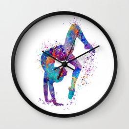 Girl Gymnastics Tumbling Colorful Watercolor Artwork Wall Clock