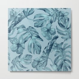 Hawaiian Teal Sea Island Leaves + Flowers Metal Print