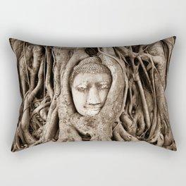 Buddha head in a Banyan Tree in Ayutthaya, Thailand Rectangular Pillow