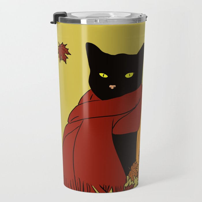 Cascade The Black Cat In Red Scarf With Pumpkin - Fall Travel Mug