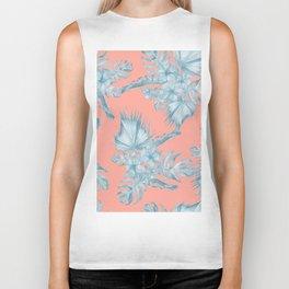 Dreaming of Hawaii Pale Teal Blue on Coral Pink Biker Tank