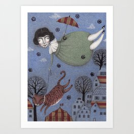 There goes the Cat Art Print
