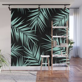 Palm Leaves Cali Finesse #4 #MintBlack #tropical #decor #art #society6 Wall Mural
