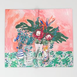 Cockatoo Vase - Bouquet of Flowers on Coral and Jungle Throw Blanket