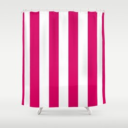 Bright Pink Peacock and White Wide Vertical Cabana Tent Stripe Shower Curtain