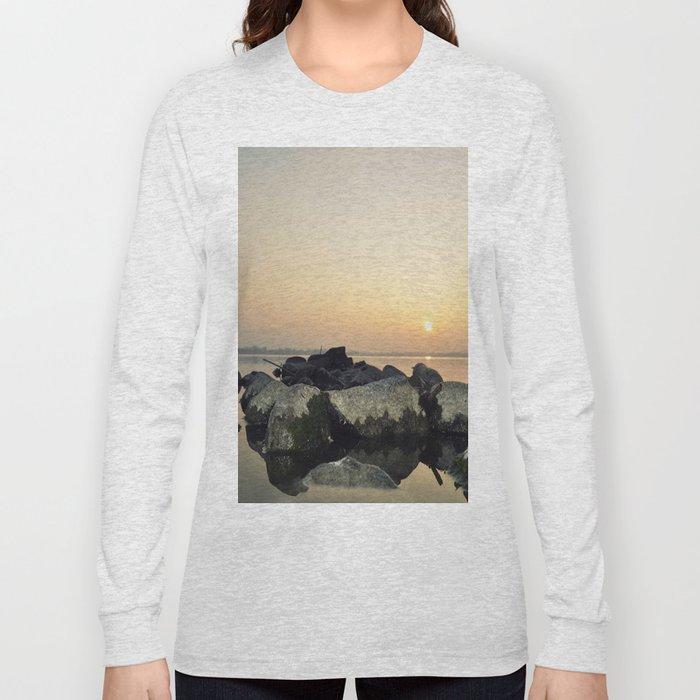 sea stones sunset ### Long Sleeve T-shirt