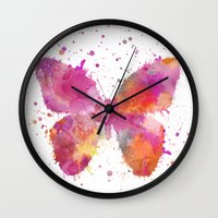 artsy Wall Clocks featuring Artsy Butterfly by LebensART