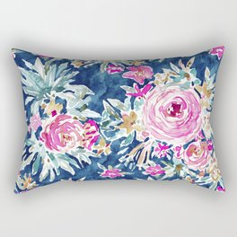 DEFLORABLE Pink Blue Floral Rectangular Pillow