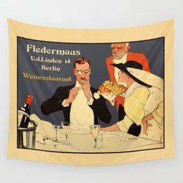 Berlin retro 1920 Plakatstil Fledermaus wine restaurant advertisement Wall Tapestry