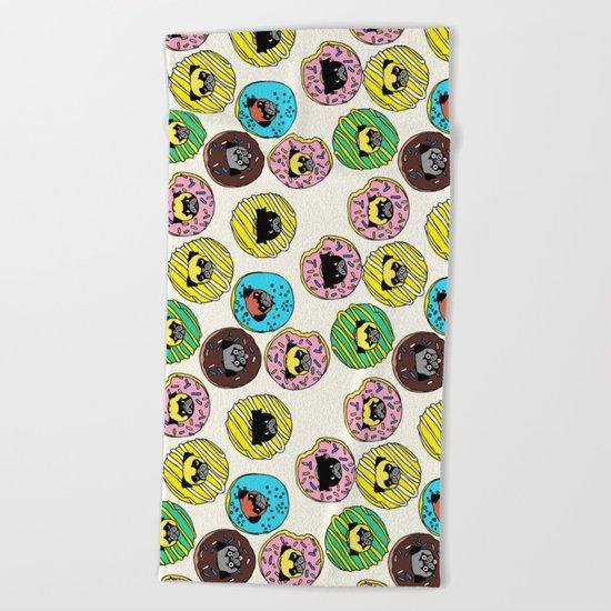 Pug Donuts Beach Towel